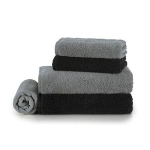 Jogo-de-Banho-Karsten-Fio-Penteado-5-Pecas-Cotton-Class-Cinza-Steel--Preto