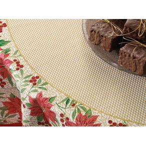 Toalha-de-mesa-de-Natal-Redonda-Karsten-4-lugares-Tempo-de-Flores