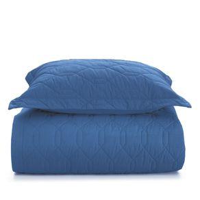 Cobre-Leito-Solteiro-Karsten-com-1-Porta-Travesseiro-180-Fios-Liss-Azul