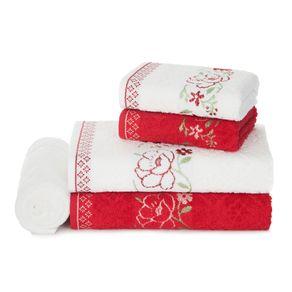 Jogo-de-Banho-Karsten-Fio-Cardado-5-Pecas-Yuna-Branco-Vermelho