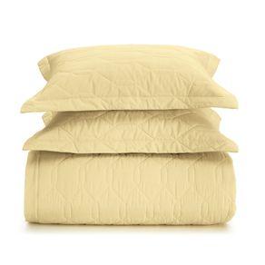Cobre-Leito-Solteiro-Karsten-com-1-Porta-Travesseiro-180-Fios-Liss-Amarelo