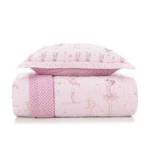 Cobre-Leito-Solteiro-Infantil-Karsten-com-1-Porta-Travesseiros-180-Fios-Percal-Bailarina-Branco