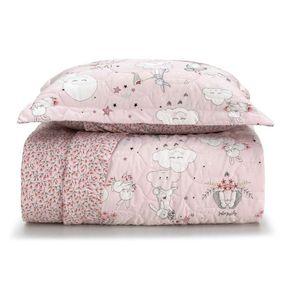 Cobre-Leito-Solteiro-Infantil-Karsten-com-1-Porta-Travesseiros-180-Fios-Percal-Malu-Branco