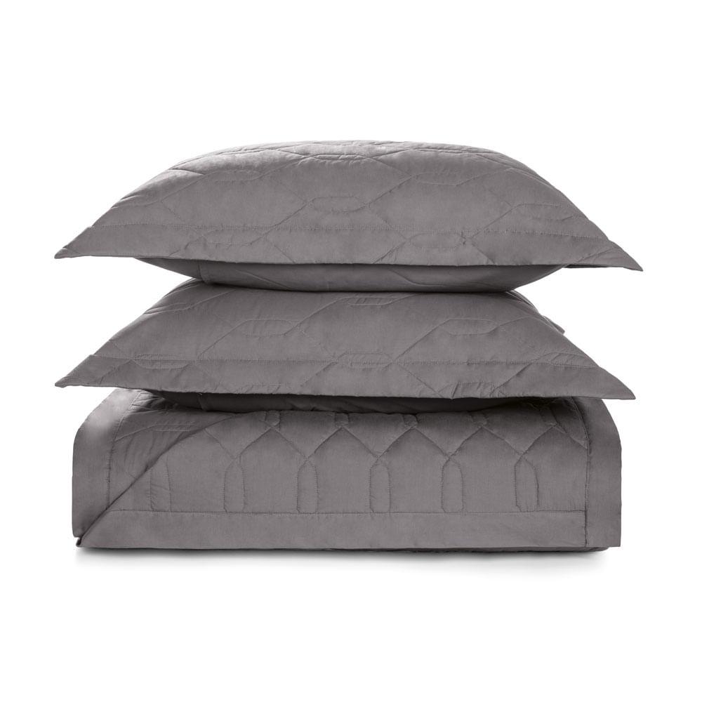 Cobre-Leito-Queen-Karsten-com-2-Porta-Travesseiros-180-Fios-Percal-Liss-Grafite