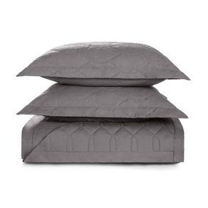 Cobre-Leito-Casal-Karsten-com-2-Porta-Travesseiros-180-Fios-Percal-Liss-Grafite