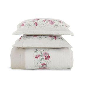 Cobre-Leito-Queen-Karsten-com-2-Porta-Travesseiros-180-Fios-Percal-Lauren-Branco