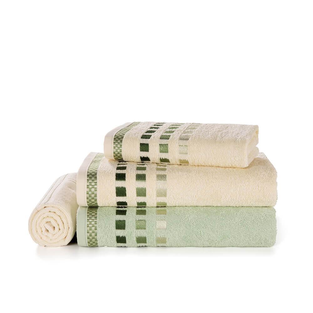 Jogo-de-Banho-Karsten-Fio-Cardado-4-Pecas-Calera-Natural--Verde-Cha--Verde