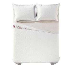 Cobre-Leito-Solteiro-Karsten-com-1-Porta-Travesseiros-180-Fios-Percal-Lauren-Branco