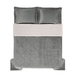 Edredom-de-Microfibra-Casal-Karsten-com-Porta-Travesseiro-Sonata-Cinza-Medio