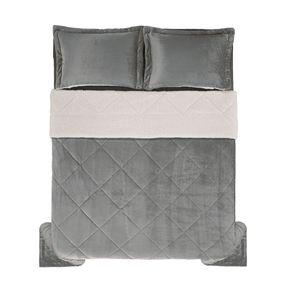 Edredom-de-Microfibra-King-Karsten-com-Porta-Travesseiro-Sonata-Cinza-Medio