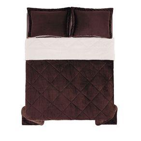 Edredom-de-Microfibra-Casal-Karsten-com-Porta-Travesseiro-Sonata-Chocolate