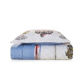 Cobre-Leito-Solteiro-Infantil-Karsten-com-1-Porta-Travesseiro-180-Fios-Percal-Aventura