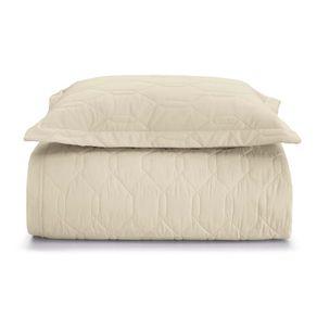Cobre-Leito-Solteiro-Karsten-com-1-Porta-Travesseiros-180-Fios-Liss-Bege