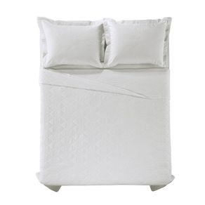 Cobre-Leito-Solteiro-Karsten-com-1-Porta-Travesseiros-180-Fios-Liss-Branco