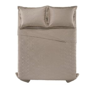 Cobre-Leito-Solteiro-Karsten-com-1-Porta-Travesseiros-180-Fios-Liss-Taupe
