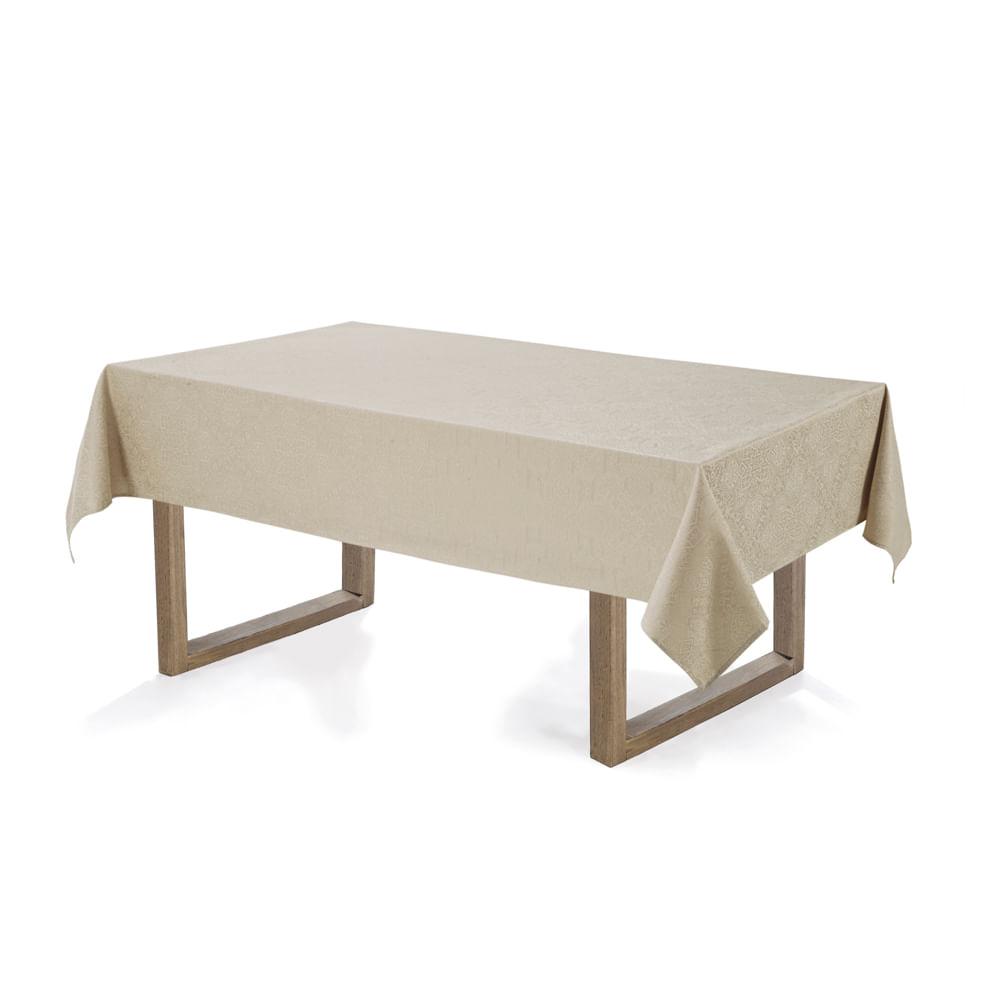 Toalha-de-mesa-Retangular-Karsten-12-lugares-Sempre-Limpa-Jacquard-Vilares-Noz-Moscada