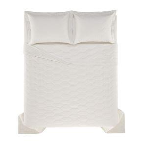 Cobre-Leito-Solteiro-Karsten-com-1-Porta-Travesseiro-180-Fios-Percal-Liss-Gelo