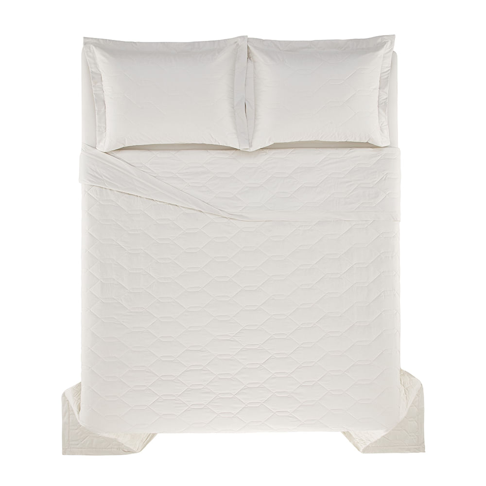 Cobre-Leito-King-Karsten-com-2-Porta-Travesseiros-180-Fios-Percal-Liss-Gelo