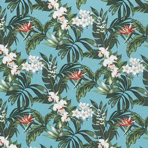Tecido-Acquablock-Karsten-Impermeavel-Floralis-Turquesa