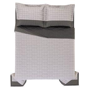 Cobre-Leito-Queen-Karsten-com-2-Porta-Travesseiros-180-Fios-Percal-Nodari-Grafite