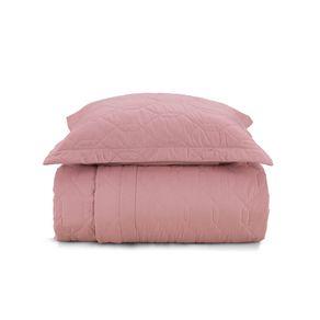 -Cobre-Leito-Solteiro-Karsten-com-1-Porta-Travesseiros-180-Fios-Liss-Rosa